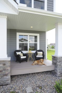 Azek Porch With Arbor Collection Decking In Silver Oak Chairs Wicker