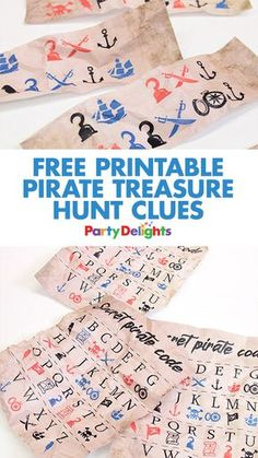 Download our free printable pirate treasure hunt clues for your scavenger hunt! A fun pirate party game that can be played anytime of year.