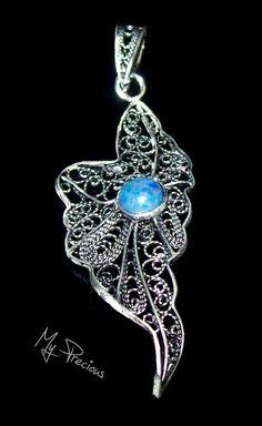 My Precious - Fine silver filigree pendant with Lapis denim cab.