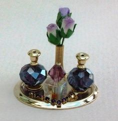 Dollhouse Miniatures Ladies Lavender Perfume Dressing Table Tray Dolls house Boutique shop 1/12 scale