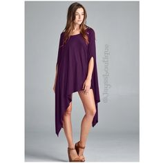 The PRESTIGE Tunic Poncho Purple Ultra-soft and flowing, loose fit poncho tunic can be worn as a tunic top, cover-up or dress. Asymmetrical hemline. Edgy and sophisticated, yet comfy. Great as a beach cover-up, too. 95% Rayon, 5% Spandex, made in USA. ONE SIZE FITS MOST. Tops Tunics