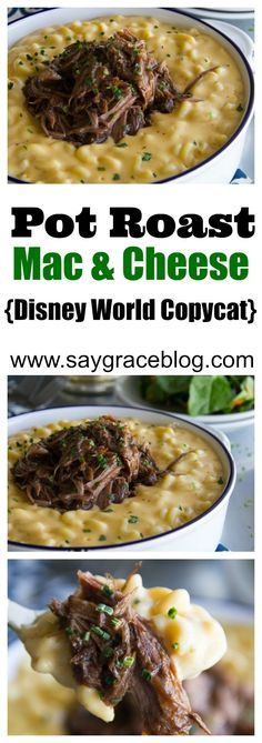 Pot Roast Macaroni & Cheese (Disney World Copycat) HoneyBaked Ham's slow cooked, tender Beef Pot Roast gets piled on top of a creamy, spicy, homemade macaroni and cheese to copycat the popular Magic Kingdom comfort dish. Slow Cooker Recipes, Crockpot Recipes, Cooking Recipes, Disney Food Recipes, Vegetarian Cooking, Easy Cooking, Carne Asada, Beef Dishes, Pasta Dishes