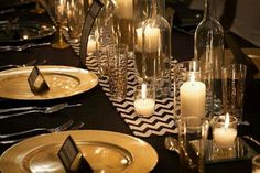 black and gold wedding table settings - Google Search