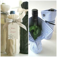 I once was a men's shirt until I was transformed into a wine gift bag. Find the machines to transform your ideas into realities at www.shopjoya.com