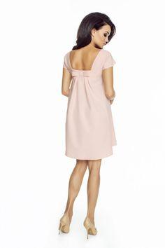 Luźna trapezowa sukienka różowa krótki rękaw