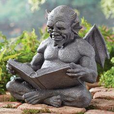 What a cutie!  http://www.onlinesculptureshop.com/reading-gargoyle-garden-sculpture/