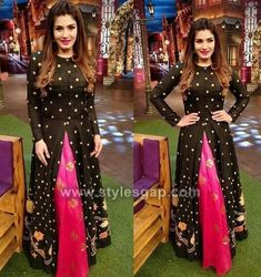 Latest Front Open Double Shirt Dresses Designs Collection Trends consists of front open frocks, double shirt gowns, angrakha double shirts etc. Indian Attire, Indian Wear, Indian Outfits, Indian Designer Outfits, Designer Dresses, Indian Fashion Trends, Designer Kurtis, Indian Gowns Dresses, Lehenga