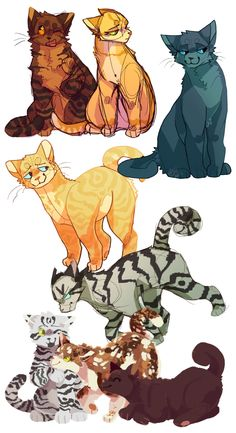 gosh I need to reboot this blog in order ; left to right, top to bottom Dustpaw & Sandpaw, Bluestar Littlecloud, Longtail Bumblestripe & Blossomfall & Briarlight all characters belong to Erin Hunter!