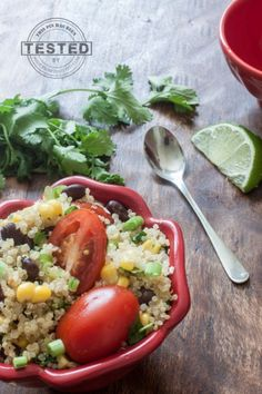 It only took 30 minutes to make this Cilantro Lime Quinoa Salad bowl! Packed with protein, vegan and so healthy I could eat it every day!