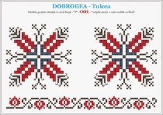 Camasa romaneasca, motive traditionale - DOBROGEA - Tulcea Cross Stitch Borders, Cross Stitch Designs, Cross Stitching, Folk Embroidery, Cross Stitch Embroidery, Embroidery Patterns, Beading Patterns, Cross Stitch Patterns, Palestinian Embroidery