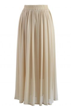 Nude Chiffon Maxi Skirt - CHICWISH SKIRT COLLECTION - Skirt - Bottoms - Retro, Indie and Unique Fashion