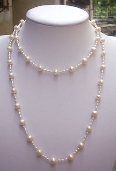 pearl necklace - 3-9mm 40'' feshwater pearl necklace. ivory pearl necklace .Long Pearl Necklace, - Free Shipping