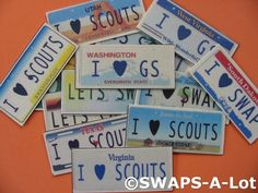 License Plate Girl Scout SWAP - another good one for an out of state trip