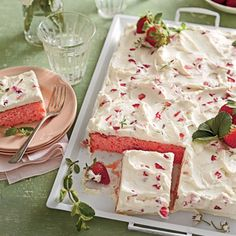 How to Make Strawberries-and-Cream Sheet Cake | MyRecipes.com