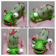 Dee Raa Arts polymer clay sculpey fimo zombie snail Zombie Snail gore blood gory eyeball