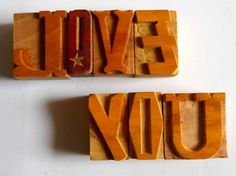 Nicely Hand Craft Letterpress Love You Wood Type Printers Block typography