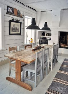 farmhouse table for ten and still spots left on the ends! Retro Table And Chairs, Dining Table Chairs, Dining Area, Kitchen Dining, Trestle Table, Les Hamptons, Interior Exterior, Interior Design, Swedish Kitchen