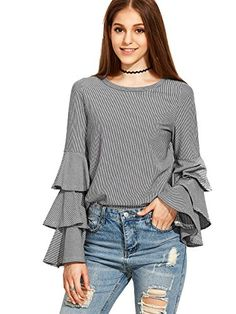 SheIn Women's Striped Layered Bell Sleeve Ruffle Blouse - Grey Large