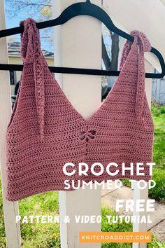 Diy Crochet Top, Crochet Summer Tops, Crochet Halter Tops, Quick Crochet, Free Crochet, Crochet Cape, Crochet Edgings, Crochet Motif, Crochet Baby Jacket