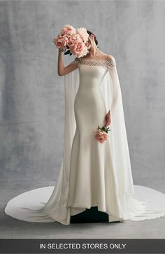 Main Image - Ines by Ines Di Santo Danica Off the Shoulder Gown with Cape