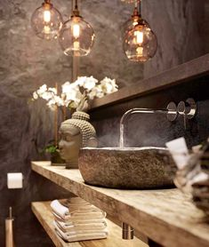 Modern bathroom and amazing sink design by ? Modern bathroom and amazing sink design by ? Spa Bathroom Decor, Modern Bathroom, Modern Sink, Balinese Bathroom, Small Spa Bathroom, Zebra Bathroom, Spa Bathrooms, Spa Room Decor, Rental Bathroom