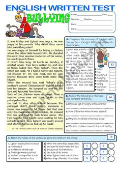 This text is about bullying in school and its grammar focus is on the PAST SIMPLE. Hope you find it useful. Comprehension Worksheets, Reading Worksheets, Vocabulary Worksheets, Reading Comprehension, Summary Writing, Persuasive Writing, English Grammar Worksheets, English Vocabulary, English Lessons