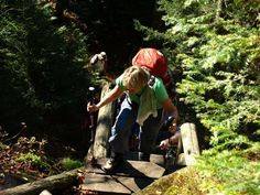 Climbing up Ladder #3 to Summit Rock on Indian Pass thru hike from Newcomb to Lake Placid