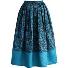Lace Fantasy Pleated Midi Skirt in Blue - Skirt - Bottoms - Retro aeb2ccaf48
