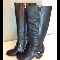 Fergie Theory Black Boots Date Night Host Pic 8-28 Date Night Host Pic. New in box, no defects. Full side zipper. Faux leather. Side gold tone accents. Three inch heel. Fergie Shoes