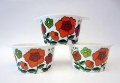 1970s melmac stackable BOWL⎮French vintage⎮orange & green floral decor⎮mid century modern⎮set of 3 on Etsy, $20.94