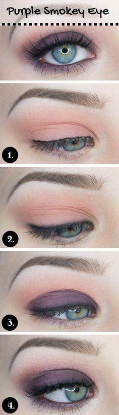 Purple Smokey Makeup for Blue Eyes #blueeyemakeup #makeupforbrowneyes
