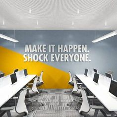 Shock Any Office Decor Office Quote Office Wall Art Wall Art Office Decor Corporate Office Design, Office Wall Design, Office Branding, Office Wall Decor, Office Walls, Office Art, Office Interior Design, Office Interiors, Office Designs