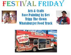 It's time for FESTIVAL FRIDAY. We have a good lineup this week. Starting with Arts & Crafts Night with a Kids Crafts area. Face painting by Bev and our friend Tripp the Clown to entertain the kids. And to top it off we will have Whataburger Food Truck starting at 5pm. So get ready to start the weekend off with a fun night at ‪#Papa Robbs‬.