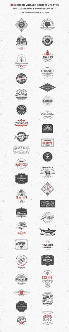 80 Modern Vintage Logos vol 2 by DISTRICT 62 STUDIO on @creativemarket #ad
