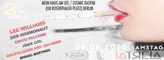 2 Years LaTrela! with Lee Williams,Der Kosmonaut,Erico Falcone,Joax Col,Miguel Martinez and live! 06.06.2015 @Mein Haus Am See & Cosmic Kaspar. U8 Rosenthaler Platz ,Berlin.  https://www.facebook.com/events/735789196502131/