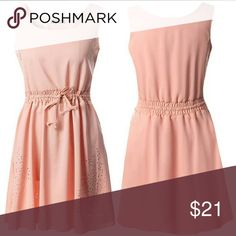 JUST IN Blush Eyelet Dress Peachy pink dress with drawstring waist and beautiful cut out design on shoulders and skirt.  23 in bust laying flat 24 in waist laying flat Dresses Midi