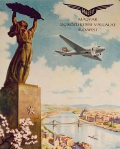 Malév Hungarian Airlines Vintage Advertisements, Vintage Ads, Budapest, Art Deco Posters, Poster Ads, Graphic Design Posters, Vintage Travel Posters, Illustrations And Posters, Europe