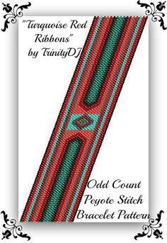 BP-AB-032 Turquoise Red Ribbons Odd Count Peyote by TrinityDJ