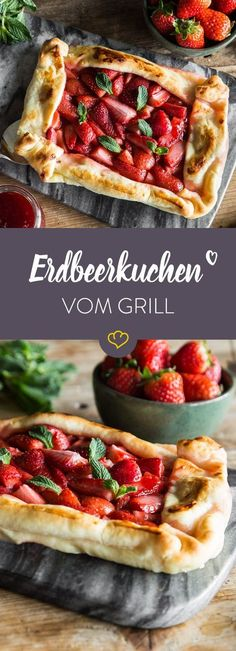 Dieser fruchtige Erdbeerkuchen kommt nicht aus dem Ofen, sondern vom Grill und i… This fruity strawberry cake does not come from the oven but from the grill and is a delicious dessert for the upcoming barbecue season. Camping Desserts, Köstliche Desserts, Camping Meals, Barbacoa, Plancha Grill, Grill Dessert, Foil Pack Dinners, Grill Party, Bbq Grill