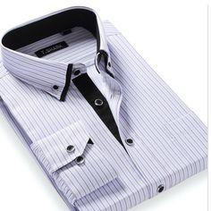 Los hombres de manga larga da vuelta-abajo camisa a rayas a cuadros informal slim fit