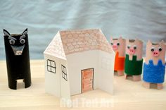 Three Little Pigs Houses toilet roll craft