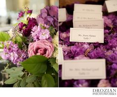 The ceremony and reception were decorated with flowers in shades of purple and lavender. The place cards looked so cute on the bed of purple flowers #VineyardWedding #PlaceCards #Purple #Lavender #WeddingPhotography