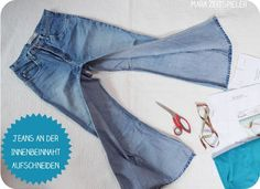 Upcycling tutorial: sewing baby pants from old jeans ~ Mara Z .- Upcycling-Tutorial: Babyhosen aus alten Jeans nähen ~ Mara Zeitspieler Upcycling tutorial: sewing baby pants from old jeans ~ Mara Zeitspielers - Sewing For Kids, Baby Sewing, Jean Diy, Altering Jeans, Next Jeans, Sewing Jeans, Baby Jeans, Diy Clothes, Upcycled Clothing