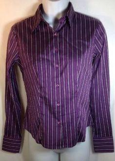 Ann Taylor Petite Blouse XSP Womens Long Sleeve Stripe Fittd Career Shirt Purple