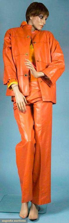 Bonnie Cashin Orange Leather Pantsuit, 1975-1976,