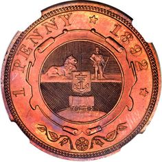 Republic Proof Penny 1892 A truly beautiful and absolutely authentic example of this rarity, surely among the finest known -- in all, a superb classic coin from this formative period in South Africa's turbulent history.
