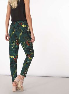Womens Green Floral Tie Trousers- Green