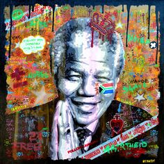 Portrait of Neslon Mandela by ARGADOL Acrylic painting on canvas (80cm x 80cm) www.argadol.fr