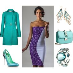 """""""The Perfect Pop of Color for Spring"""" by Perlae Couture.  Color is the way to go this spring! Mix purples with gorgeous greens for an unforgettable look. Perlae Couture's Purple and White color block dress, Sergio Rossi pumps and a Valentino Shoulder Bag, paired with jewelry by Tiagan and Ippolita and topped off with a gorgeous Ted Baker Trench Coat. Simply Fabulous. Shop www.perlaecouture.com for this stylish cocktail dress!  #colorblock #Purple dress #Lace dress"""