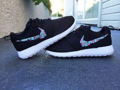 Custom Nike Roshe Run sneakers, blue, pink, purple triangles, cute pattern, Fashionable design,